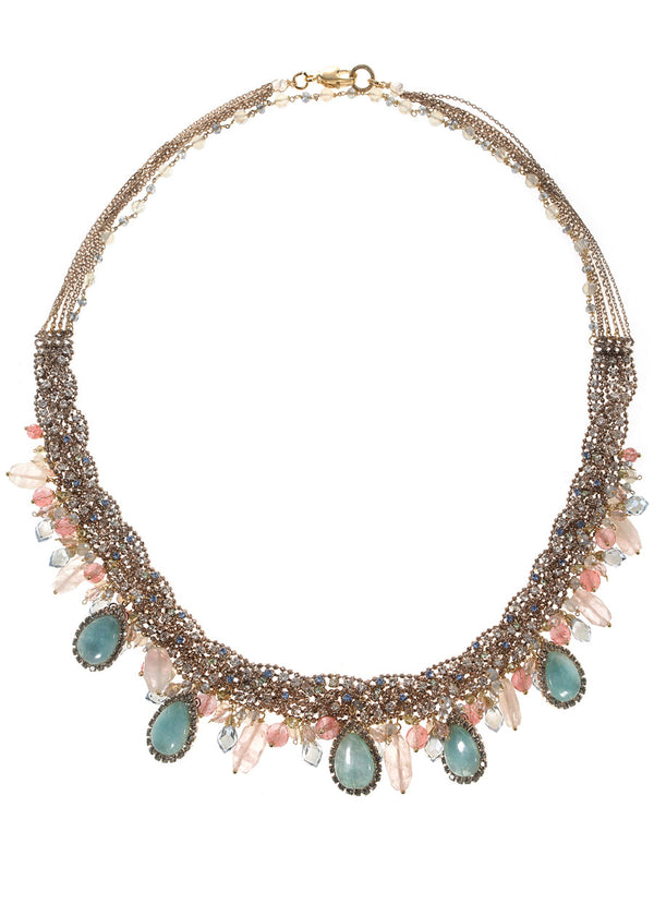 Spring in Versailles Garden statement necklace with CZ, Semiprecious stones, and Swarovski crystals, Antique gold finish