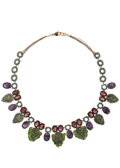 Gaia (Mother Earth) statement necklace with a splash of vivid color combination with Swarovski crystals, Semiprecious stones and CZ, Antique gold finish