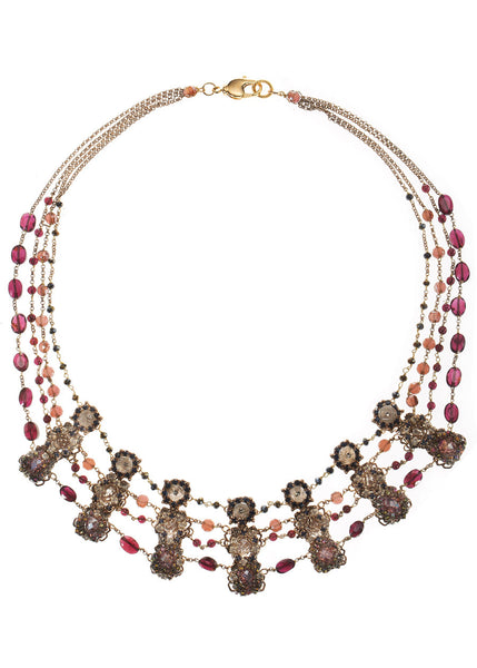 Hera elegant statement necklace with Swarovski crystals, Semiprecious stones and CZ, Antique gold finish