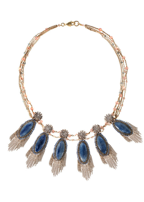 Athena (Goddess of intelligence, wisdom and handicraft) statement necklace with Kyanite, CZ and Swarovski crystals, Antique gold finish