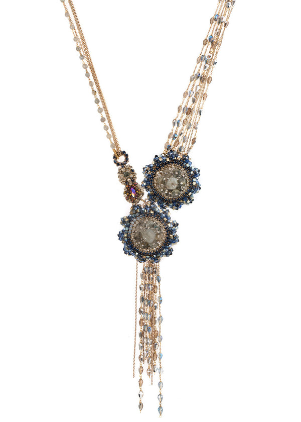 Helios statement necklace with Labradorite, CZ and Swarovski crystals, Antique gold finish