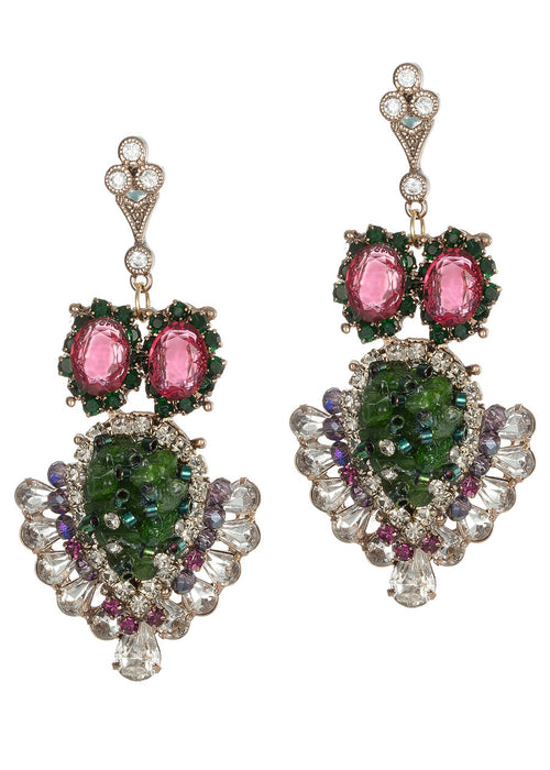 Gaia (Mother Earth) chandelier earrings with a splash of vivid color combination with Swarovski crystals, Semiprecious stones and CZ, Antique gold finish