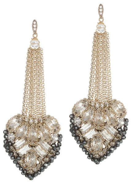 Aphrodite chandelier Earrings with CZ and Swarovski crystals, Gold finish