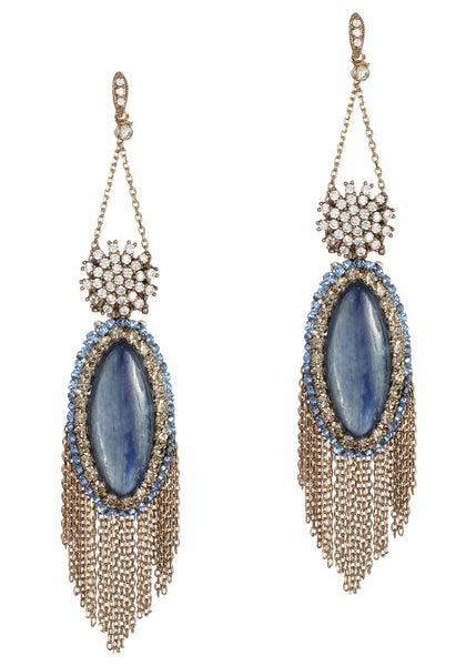 Athena (Goddess of intelligence, wisdom and handicraft) chandelier earrings with Kyanite, CZ and Swarovski crystals, Antique gold finish