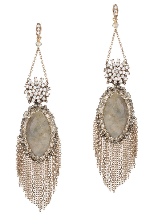 Athena (Goddess of intelligence, wisdom and handicraft) chandelier earrings with Labradorite, CZ and Swarovski crystals, Antique gold finish