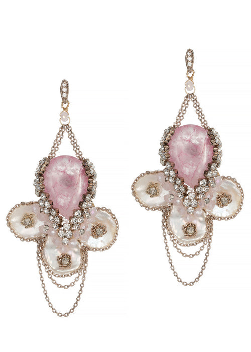 Anemone drop earrings with Keshi pearls, Pink Agate, CZ and Swarovski crystals, Antique gold finish