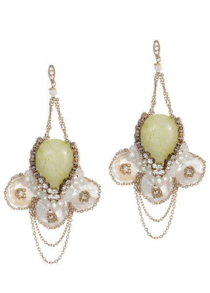 Anemone drop earrings with Keshi pearls, Green Agate, CZ and Swarovski crystals, Antique gold finish