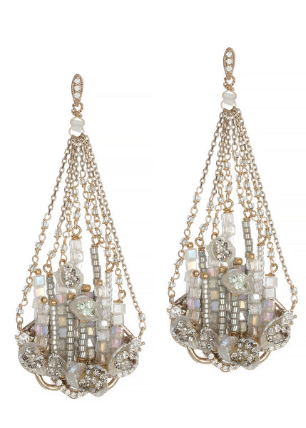 Khione (the goddess of snow) chandellier earrings with Keshi pearls, CZ and Swaroski crystals, White combo, Antique Gold finish