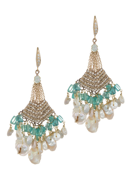 Andalusia chandelier earrings with Keshi pearls, Swarovski crystals and high quality CZ, Antique gold finish, Green Accent