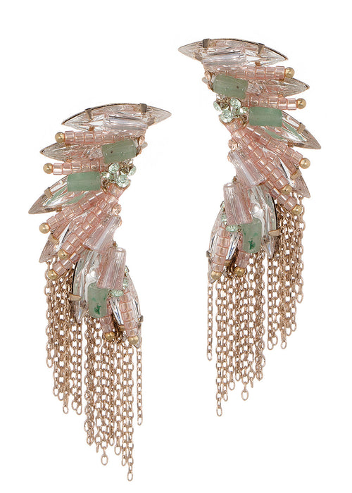 Bird of paradise earrings with CZ and Swarovski Crystals, Antique gold finish, Pink combo