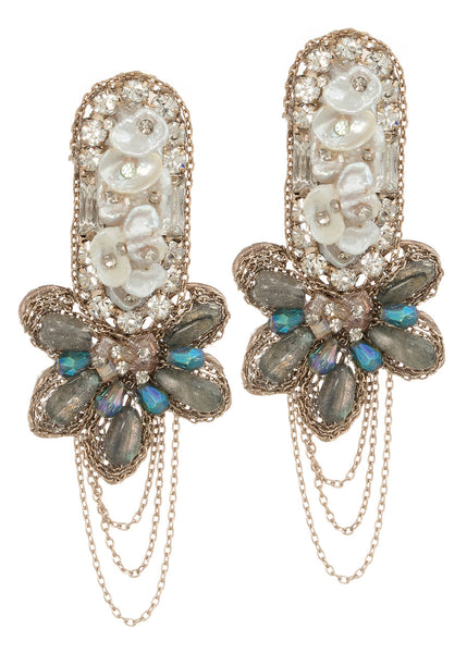 Venus drop earrings with Pearls and Swarovski crystals, Antique gold finish