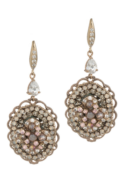 Antheia (Goddess of flowers) earrings with Swarovski crystals and high quality CZ, Pink accent, Gold finish