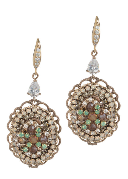 Antheia (Goddess of flowers) earrings with Swarovski crystals and high quality CZ, Green accent, Gold finish