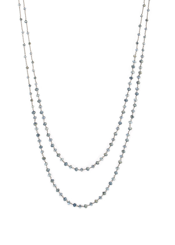 Double strands of lights of life necklace, Blue combo in Gun metal finish