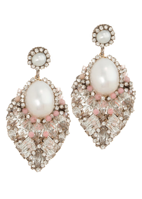 Theia Earrings with Pearls, CZ and Swarovski crystals, Multi finish