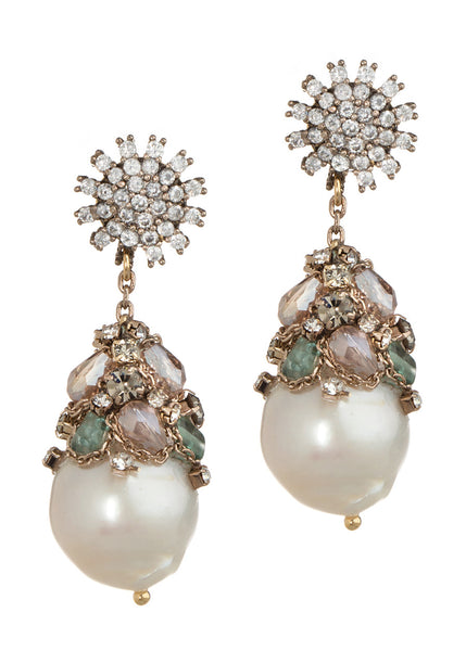 Asteria (Goddess of Stars) Earrings with Pearl, Swarovski Crystal and CZ, Gold finish