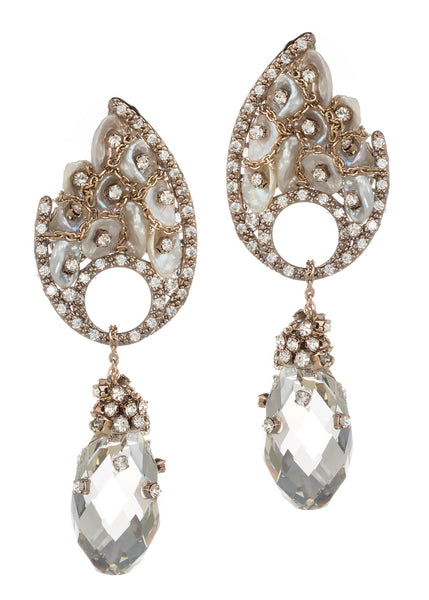 Selene (Goddess of the Moon) Earrings with Keshi pearl and rock crystal drop, Antique gold finish