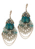 Artemis earrings with Swarovski crystals, CZ and Teal Agate, Antique gold finish