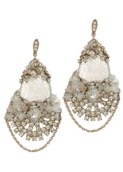 Artemis earrings with Swarovski crystals, CZ and Rose Quartz, Antique gold finish