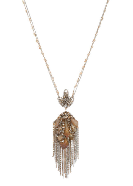 Gaia necklace with gypsum crystals, CZ and Swarovski crystals, Gold finish