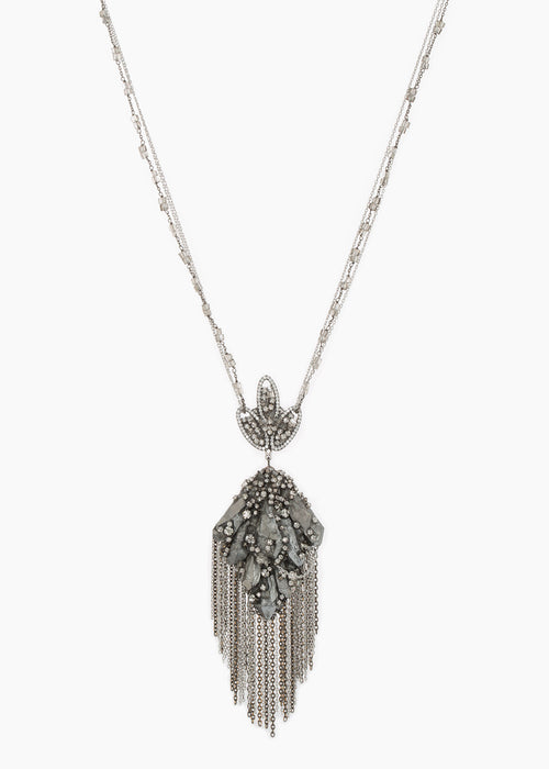 Gaia necklace with gypsum crystals, CZ and Swarovski crystals, Gun metal finish