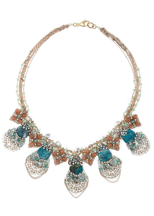 Artemis necklace with Swarovski crystals, CZ and Teal Agate, Antique gold finish