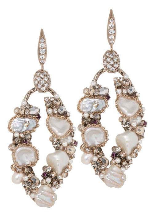 Oval earrings studded with Keshi pearl, CZ and Swarovski crystals, Antique gold finish