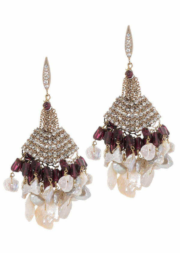 Andalusia chandelier earrings with Keshi pearls, Garnet, Swarovski crystals and high quality CZ, Antique gold finish