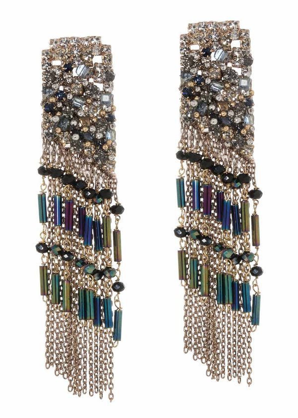 Contemporary statement earrings with Swarovski crystals and high quality CZ, Antique gold finish