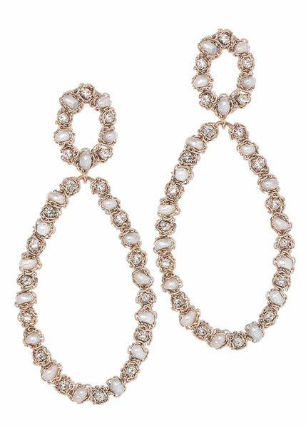 Infinity drop earrings with Peal, CZ and chain accent, Antique gold finish