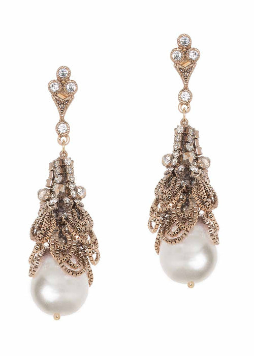 Parisian Pearl drop earrings with chain drape accent, Swarovski crystals and CZ, Antique gold finish