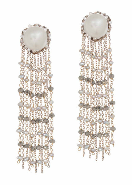 Selene earrings with Pearls and Swarovski crystals, Antique Gold finish
