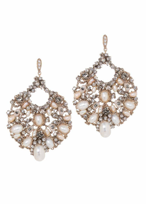 Flora (Roman goddess of flowers) Earrings with Fresh water  pearls, Swarovski crystals, and high quality CZ,  Antique gold finish
