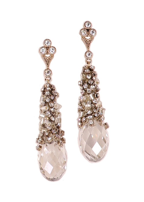 Selene (Goddess of the Moon) Earrings accented with CZs and  rock Swarovski crystal drop, Antique gold finish