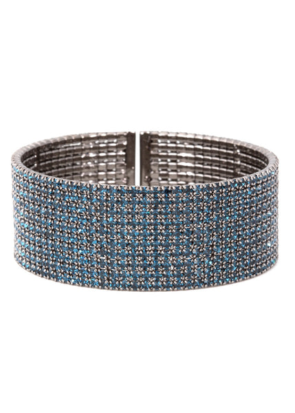 Blue CZ Bangle, 10 Rows