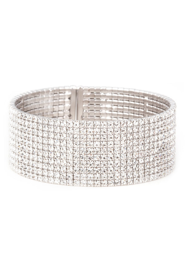 Clear CZ Bangle, 10 Rows-White gold finish