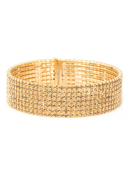 Antique Gold CZ Bangle, 7 Rows