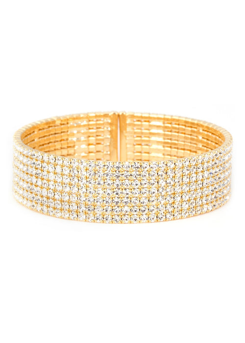 Gold CZ Bangle, 7 Rows