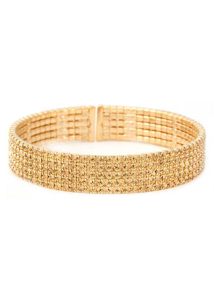 Antique Gold CZ Bangle, 5 Rows