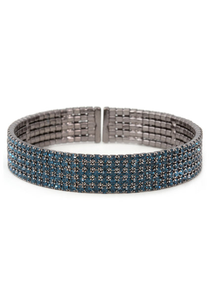 Blue CZ Bangle, 5 Rows