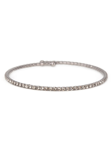 Pewter CZ Bangle,1 Row