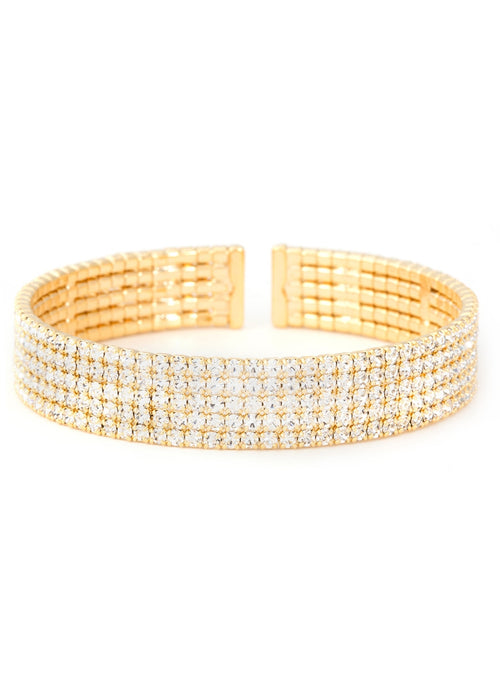 Gold CZ Bangle, 5 Rows