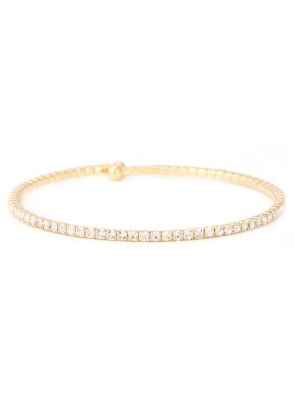 Clear CZ Bangle 1 Row, Gold