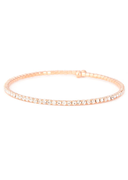 Clear CZ Bangle 1 Row, Rose Gold
