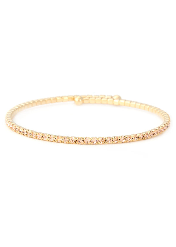 Peach CZ Bangle 1 Row, Gold