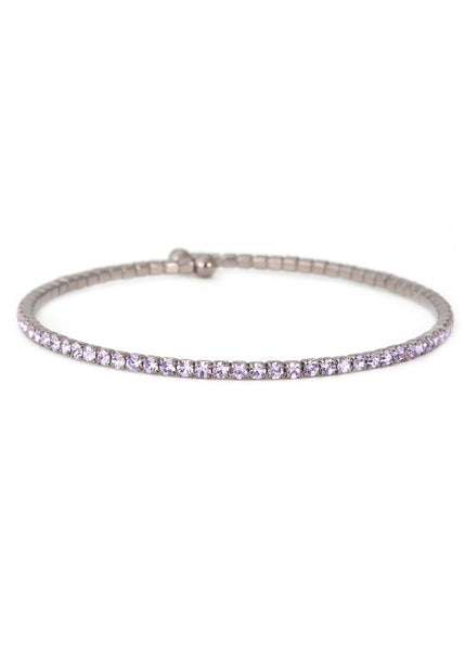 Lilac  CZ Bangle 1 Row, Gun metal