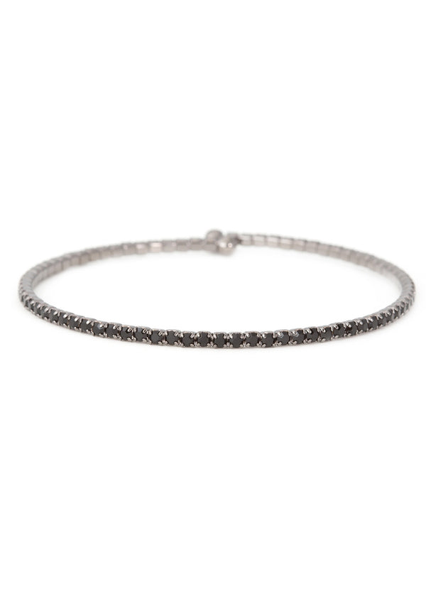 Black  CZ Bangle 1 Row, Gun metal