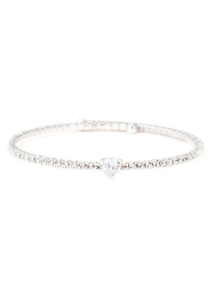 Heart accented clear  CZ Bangle 1 Row, White gold