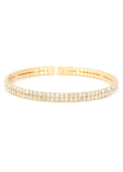 Clear  CZ Bangle 2 Rows, Gold