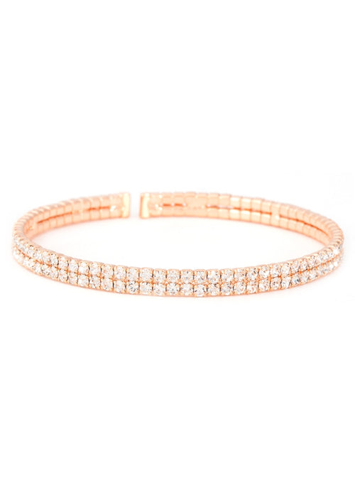 Clear  CZ Bangle 2 Rows, Rose Gold